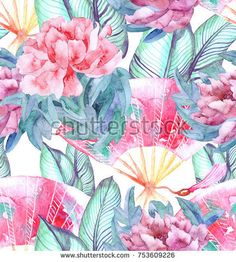Asian seamless pattern with Japanese   peons, oriental fans,   tropical leaves. Painted watercolor illustration with traditional symbols of Asia