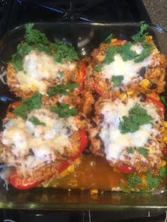 If your looking for a healthy dinner meal look no further. 21 Day Fix (Fixate cookbook) chicken stuffed peppers.
