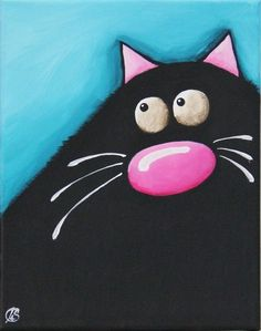 Fat Cat Art Original painting whimsical black cat Lucia Stewart turquoise (3) #Modern