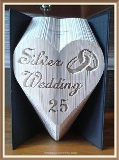 Silver Wedding Heart. Book Folding Pattern by JHBookFoldPatterns on Etsy