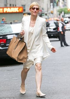 Don't stain! Cate Blanchett wore all white in New York City on Friday...