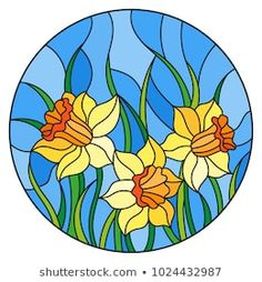 Illustration in stained glass style with a bouquet of yellow daffodils on a blue background, round image Stained Glass Flowers, Stained Glass Patterns, Stained Glass Art, Glass Painting Designs, Paint Designs, Stained Glass Fireplace Screen, L'art Du Vitrail, Happy Paintings, Illustration
