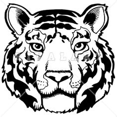 Mascot Clipart Image of A Tigers Mascot Head In Black And White http://www.rivalart.com/cart/pc/viewCategories.asp?idCategory=102&opid=5