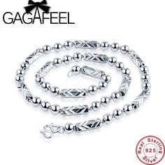Cheap link chain, Buy Quality chain necklace directly from China designer necklace Suppliers: GAGAFEEL Men Bead Chain Necklace Sterling-Silver-Jewelry Round Link Chain With Hexagon Necklaces Inch Classic Design Mens Silver Necklace, Long Chain Necklace, Men Necklace, Sterling Silver Necklaces, Jewelry Necklaces, Pendant Necklace, Chain Jewelry, Punk, Chains For Men