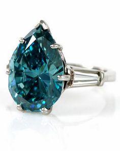 7.81ct Blue Diamond Platinum Engagement Ring