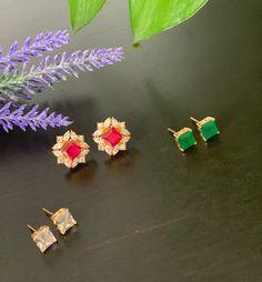 Interchangeable stud earrings/AD stones earrings / Changeable Jewelry / Bollywood /Ethnic/ small stud earrings / Three colors Party Wear Dresses, Stone Earrings, Ethnic, Product Life, Sprays, Bollywood, Butter, Stones, Jewellery