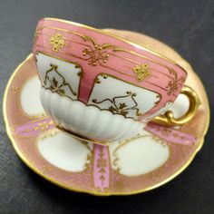 Antique Royal Doulton Demitasse Coffee Tea Cup and Saucer, Pink with Gold. Tea Cup Set, Tea Cup Saucer, Vintage Dishes, Vintage Tea, Cup And Saucer Crafts, Pink Coffee Cups, Cherry Kitchen, Porcelain Mugs, Royal Doulton