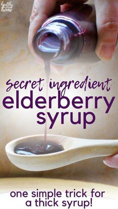 Thick Elderberry Syrup Recipe NO more spills / texture of store-bought! - THICK elderberry syrup is a perfect immune-boosting remedy for cold + flu season. Most recipes are - Cold Home Remedies, Cough Remedies, Natural Health Remedies, Natural Cures, Natural Healing, Herbal Remedies, Natural Foods, Bloating Remedies, Natural Beauty