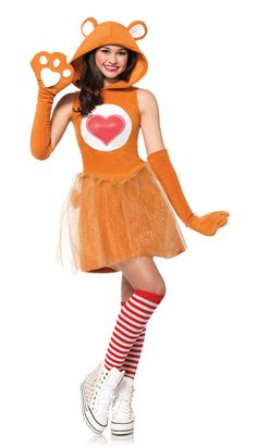 Friendship Bear Officially Licensed Carebear Teen Costume - Our Friendship Bear Officially Licensed costume is perfect for the girl who wants to make friends. It's even better when her BFF wears one just like it! Adorable dress and gloves make this costume an instant ice breaker. Worn with cute, funky socks (not included), Friendship Bear costume makes a fun statement  at Halloween parties, trick-or-treating, or any festive event. #carebears #yyc #teen #costume #calgary