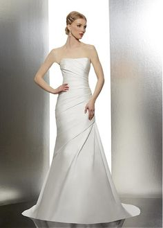 CLASSIC SATIN A-LINE STRAPLESS ASYMMETRICALLLY PLEATED CORSET WEDDING DRESSES LACE FORMAL PROM PARTY BALL GOWN CUSTOM SIZE