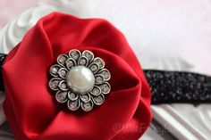 Red Satin Flower with White Feather Headband by WeeFancyBowtique
