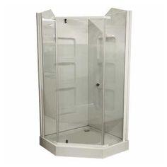"38"" White Acrylic Angle Shower Cabinet"