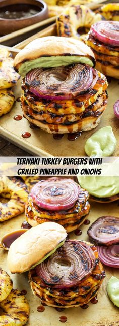 Teriyaki Turkey Burgers with Grilled Pineapple and Onions Fire up the grill You dont want to miss these flavorful burgers the grilled toppings put them over the top Turkey Burger Recipes, Ground Turkey Recipes, Stuffed Burger Recipes, I Love Food, Good Food, Yummy Food, Grilling Recipes, Cooking Recipes, Healthy Recipes
