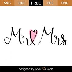 *** FREE SVG CUT FILE for Cricut, Silhouette and more *** Mr & Mrs