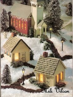 How to make mini houses. Putz Houses, Christmas Village Houses, Christmas Village Display, Christmas Villages, Fairy Houses, Christmas Decorations, Christmas Ornaments, All Things Christmas, Christmas Home