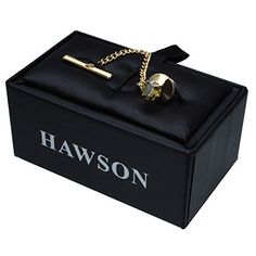 d816877c0698 HAWSON Mens Crystal Tie Tack With Chain Gold Tie Clip Party Accessories 3  Color Options As