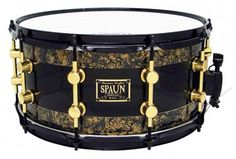 7x14 snare drum in smoke gold abalone finish by Spaun Drums