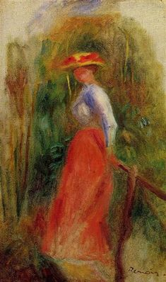 Woman in a Landscape by Pierre-Auguste Renoir. Impressionism. genre painting. Private Collection