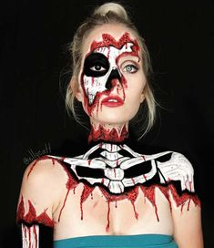 Bloody Skeleton Halloween Makeup Look