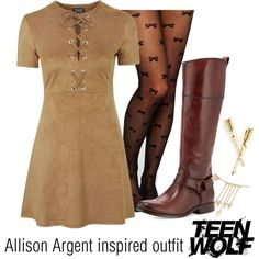Allison Argent inspired outfit/TW by tvdsarahmichele on Polyvore featuring Mode, Topshop, Leg Avenue, Frye and Forever 21