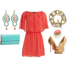 Summer bridal shower outfit! Coral chiffon short blouson dress, gold chain bracelet, turquoise patent clutch, gold-turquoise-coral chandelier earrings, large coral-turquoise ring, camel-brown spike heels