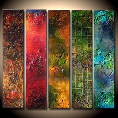 Abstract Colorful Multi Panelled Art Textured painting Contemporary Fine Art by Henry Parsinia Large Farbenfrohe Abstrakte Kunst mehrere getäfelte Original strukturierte Abstrakt-Malerei TITLE: FLASH OF COLORS SIZE: 40 Art Texture, Texture Painting, Pintura Graffiti, Colorful Abstract Art, Blue Abstract, Wow Art, Art Moderne, Panel Art, Art Mural