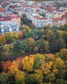 Autumn in Prague #Prague #travel #autumncolours #flying #mavic #park #stromovka #holesovice #p7 #thisisprague