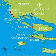 One Week Dalmatian Islands Pop-Up Flotilla Route Map