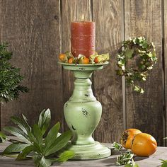 Kerzenleuchter Irda Metall grün antik shabby