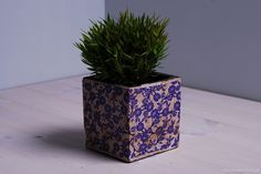 Mała szara doniczka zdobiona niebieskim ornamentem kwiatowym. Udekoruje parapet, taras czy ogród. Pięknie podkreśli zieleń Twoich roślin i kwiatów..