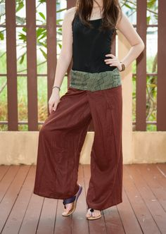 Linen Thai Fisherman Pants Solid Color with Tribal Pattern Fold Over Waist Hippie Gypsy Boho Unisex Wrap-around Trousers (Brown). $15.00, via Etsy.