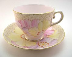 Tuscan  Chintz Floral Tea Cup And Saucer , English tea set, bone china, Antique 1940's Pink english tea cup. ETSY
