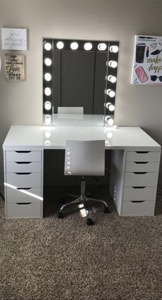 Make-up room inspiration! I love this vanity in my makeup room! Ikea Alex drawers make-up room inspiration! I love this vanity in my makeup room! Ikea Alex drawers Source b Cute Bedroom Ideas, Room Ideas Bedroom, Bedroom Decor, Ikea Room Ideas, Bedroom Small, Trendy Bedroom, Bedroom Ideas For Girls, Bedroom Table, Teen Girl Bedrooms