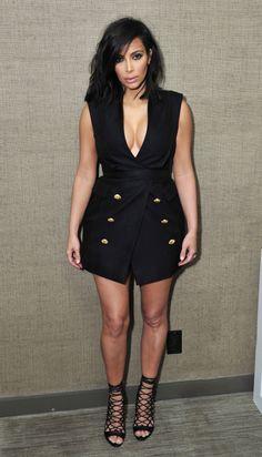 Kim in a tuxedo dress