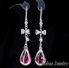 Crystal Earrings Hook Eardrop Bowknot Charm