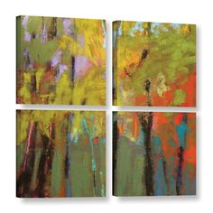 Trees Three 4 Piece Painting Print on Wrapped Canvas Set