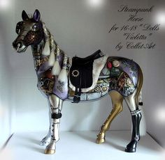 "STEAMPUNK HORSE ""VIOLETTA"" 2011 REPAINT ALTERED ART FOR 16-18"" DOLLS by collet-art, via Flickr"