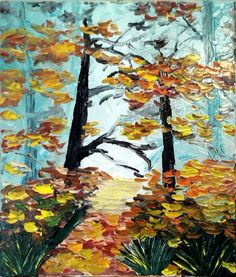 """Oil on canvas, knife painting """"Autumn in forest"""" Knife Painting, Oil Painting On Canvas, Oil Paintings, My Arts, Autumn, Passion, Horses, Fall"""