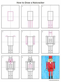 Art Projects for Kids: How to Draw a Nutcracker. Final product is great! Every child had a fabulous nutcracker! Christmas Art Projects, Christmas Arts And Crafts, Winter Art Projects, Projects For Kids, Drawing For Kids, Art For Kids, Drawing Drawing, Drawing Ideas, Draw Tutorial