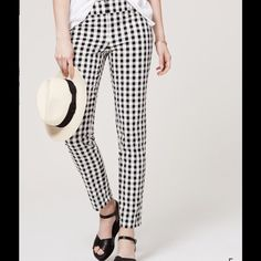 "Loft Black & White Check Ankle Pants NWT These adorable pants have 2 front diagonal pockets, 2 back pockets & belt loops ☑️ Loft Julie style: straight leg; curvy through the hip ☑️ They look great with the yellow jacket or yellow blouse in my closet! Bundle discounts!☑️ New with tags. No damage or flaws ☑️ Waist 32""; hip38""; thigh 23""; rise 10""; inseam 25.5"" ☑️ 98% cotton; 2% spandex. Machine wash ☑️ LOFT Pants Ankle & Cropped"