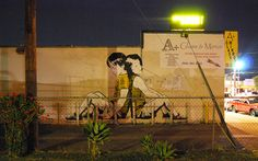"""Passed Out 3 """"Mutual Feeling"""" by bumblebeelovesyou    Street artist #Bumblebee known for his trademark yellow and black striped work has recently created a couple of  cool murals in Los Angeles. The series, entitled 'Passed Out', is aimed at raising awareness for youth homelessness"""