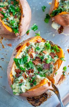 I'm head over heels in love with stuffing last night's leftovers into freshly baked sweet potatoes. Here are 8 Ways to Stuff a Sweet Potato! Gluten-free