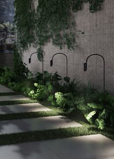 Nendo, the Bouroullecs and Patricia Urquiola launch new lamps with Flos Urquiola's Caule is an outdoor lamp featuring a curved stem Outdoor Path Lighting, Outdoor Post Lights, Backyard Lighting, Exterior Lighting, Lighting Ideas, Club Lighting, Garden Lighting Diy, Rope Lighting, Outdoor Lamps