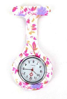 Affaire infirmière de silicone Docteur Tunique Montre Broche - ROND Pale Violet Fleurs par Boolavard® TM 2017 #2017, #Montresdepocheetgoussets http://montre-luxe-femme.fr/affaire-infirmiere-de-silicone-docteur-tunique-montre-broche-rond-pale-violet-fleurs-par-boolavard-tm-2017/