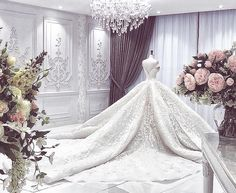 Beautiful wedding dress in exquisite threadworks and Swarovski crystals with a voluminous train for a lovely bride from ABU… Stunning Wedding Dresses, Glamorous Wedding, Princess Wedding Dresses, Dream Wedding Dresses, Bridal Dresses, Beautiful Dresses, Luxury Wedding Dress, Big Dresses, Ball Gowns