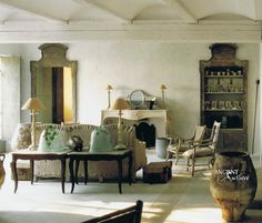 #french #provence #furniture #limestone #couch #design #old #antique #fireplace #limestone #terracotta #jars #biot