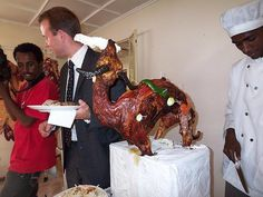 Finnish-Ethiopian Wedding - Buffet - Look at the 'nicely' setup animal.     Please check out our awesome wedding favor ideas at www.CreativeWeddingStyle.com