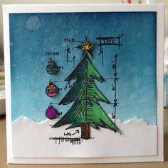 Tim Holtz Christmas Tree Mini Blueprint Card - love these stamps!