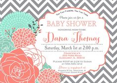 Mint And Coral Baby Shower Invitation  Baby Shower
