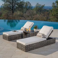 Terra Mar Chaise Set Two Chaise Loungers Square Side Table Cushions and Lumbar Pillows Covered in Sunbrella® Fabric Outside Furniture, Patio Furniture Sets, Outdoor Furniture, Furniture Layout, Furniture Ideas, Patio Furniture Makeover, Square Side Table, Lounge Areas, Pool Lounge Chairs